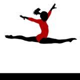 Artistic gymnastics. Gymnastics woman silhouette red suit. On white. Artistic gymnastics. Gymnast woman jumping doing a split. PNG available Stock Image