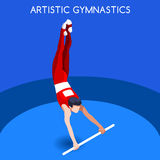 Artistic Gymnastics High Bar Olympics Icon Set.3D Isometric Gymnast.Sporting Championship International Competition. Stock Photos