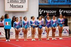 Artistic Gymnastics International Competition Stock Photography