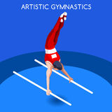 Artistic Gymnastics Parallel Bars Olympics Icon Set.3D Isometric Gymnast.Sporting Championship International Competition. Royalty Free Stock Photography