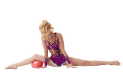 Artistic gymnastics performance with ball Stock Image