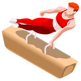 Artistic Gymnastics Pommel Horse Summer Games Icon Set.3D Isometric Gymnast.Olympics Sporting Championship International Royalty Free Stock Photography