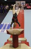 Artistic Gymnastics. Sandra Raluca Izbasa, Romanian artistic gymnast, performs exercise in the vault final of the Romanian artistic gymnastics championship Royalty Free Stock Photo
