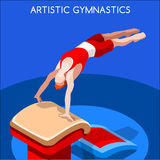 Artistic Gymnastics Vault Olympic Icon Set.3D Isometric Gymnast.Sporting Championship International Competition. Olympics Paralympics Game Rio Brasil 2016 Royalty Free Illustration