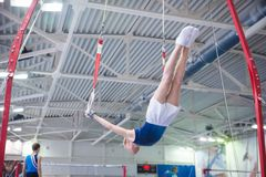 Athlete during the 10th Artistic Gymnastics World Cup Challenge o stock image
