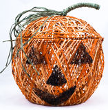 Artistic halloween basket. An isolated view of a unique and artistic Halloween basket in the shape of a jack-o'-lantern Royalty Free Stock Image