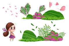 Artistic hand drawn collection of nature elements and cute little girls. With long brown hair and pink dress standing isolated on white background. Watercolor Stock Images