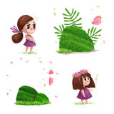 Artistic hand drawn collection of nature elements and cute little girls with long brown hair and pink dress Stock Photos