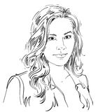 Artistic hand-drawn  image, black and white portrait of de Stock Images