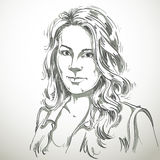 Artistic hand-drawn vector image, black and white portrait of de Royalty Free Stock Photo