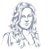 Artistic hand-drawn vector image, black and white portrait of de Stock Photos
