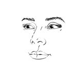 Artistic hand-drawn vector image, black and white portrait of de. Licate stylish girl. Emotions theme illustration. Peaceful and confident personality, visage Royalty Free Stock Image