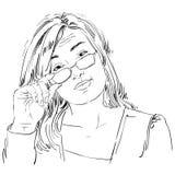 Artistic hand-drawn vector image, black and white portrait of de Stock Photo