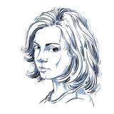 Artistic hand-drawn vector image, black and white portrait Royalty Free Stock Photo