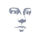 Artistic hand-drawn vector image, black and white portrait Stock Image