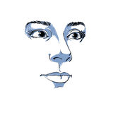 Artistic hand-drawn vector image, black and white portrait Royalty Free Stock Image