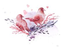 Artistic hand drawn watercolor composition with pictorial paint drops and backdrops. Good for Valentine day, wedding celebration and decoration - cards Royalty Free Stock Image
