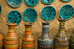 Artistic Handmade Clay Pottery. Artistic handmade pottery in a retail store shop Stock Images