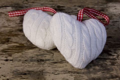 White woolen hearts  Stock Photo