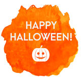 Artistic happy halloween vector banner in watercolor style with pumpkin Stock Images