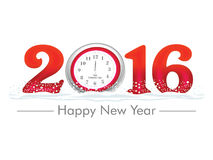 Artistic Happy New Year 2016 - Vector Illustration. Artistic Happy New Year 2016 with Clock - Vector Illustration Stock Photo