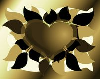 Artistic Heart on background with leaves in green tones. Image representing an heart with a decoration made with leaves and flowers Royalty Free Stock Photo