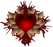 Artistic heart on spot of blood and leaves isolated Stock Photography