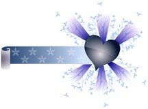 Artistic heart with scroll and floral decoration isolated Royalty Free Stock Photo