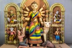 Artistic hindu goddess Durga idol created from clay. Stock Photo