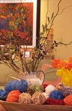 Artistic Home. Display with artwork, vase and colorful,yarn stock photo