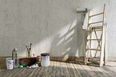 Artistic home repairing concept composition with place for logo Stock Images