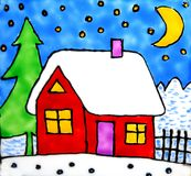 Artistic house in winter Stock Photo