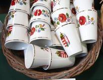 Artistic hungarian handmade porcelain china brandy palinka glass Royalty Free Stock Image