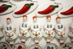 Artistic hungarian handmade porcelain china fridge magnets as so Stock Image