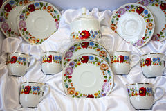 Artistic hungarian handmade porcelain china tableware Stock Photography