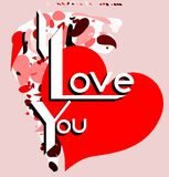 Artistic I love you background in red tones. Illustration usable as background or saint valentine's greeting card Royalty Free Stock Photography