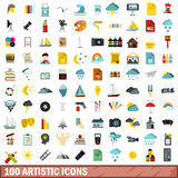 100 artistic icons set, flat style. 100 artistic icons set in flat style for any design vector illustration Royalty Free Stock Image