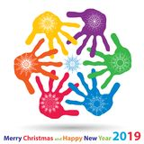 Artistic icy abstract crystal snow flakes over handprints. Isolated on background as winter or december decoration. Ice or frost beautiful star ornament on hand royalty free stock image