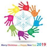 Artistic icy crystal snow flakes over handprints. Artistic icy abstract crystal snow flakes over handprints isolated on background as winter or december stock images