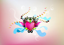 Artistic illustration of heart. With whimsical elements against pink background Stock Photography