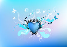 Artistic illustration of heart. With whimsical elements of butterflies, curls, and other designs Stock Images