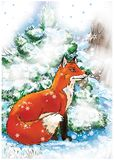 Red fox sitting in a winter forest near the green pine tree vector illustration