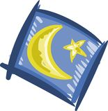 Artistic illustration with moon and a star isolated Stock Images