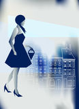 Blue City Shopping. Artistic illustration of a Stylish girl going shopping in a blue city Royalty Free Stock Photos