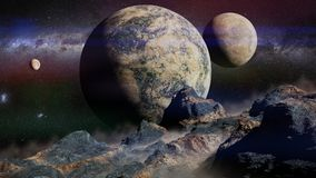 Alien landscape with planet, moons and the Milky Way galaxy Royalty Free Stock Image