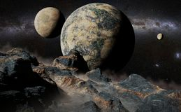 Alien landscape with planet, moons and the Milky Way galaxy. Artistic impression of an exoplanet surface scene Stock Photos