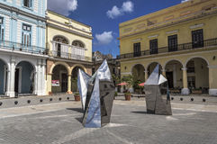 Artistic installation in Plaza Vieja, Havana, Cuba. Outoor exhibition in one of the most beatiful squares in Old Havana royalty free stock image