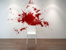 Artistic interior with a red splatter on the wall Royalty Free Stock Photography