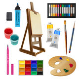 Artistic Isolated Decorative Elements. Artistic decorative elements of tools and art supplies with easel palette paints brush and pencil isolated vector Royalty Free Stock Photography