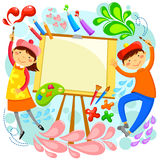 Artistic kids. Kids painting around a blank canvas with space for text Royalty Free Stock Photo
